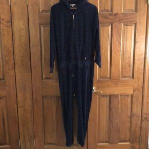 Juicy Couture velour hooded Heart Jump Suit XL